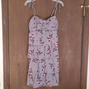 Solid Grey Dress with Pink Flower Design